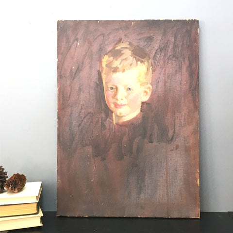 Portrait of a young boy - vintage painting from 1950s - NextStage Vintage