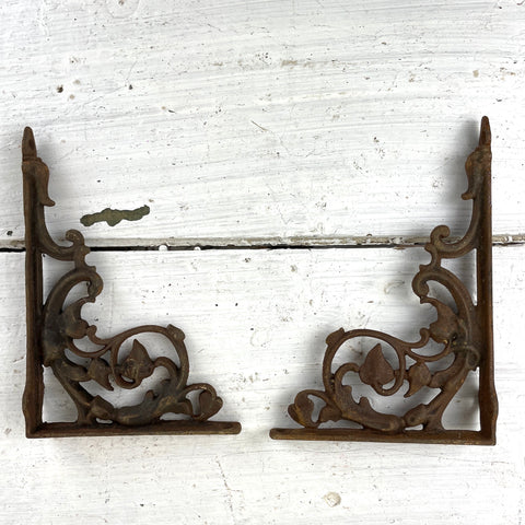Iron floral shelf brackets - a pair - crusty and rusty vintage metalwork - NextStage Vintage