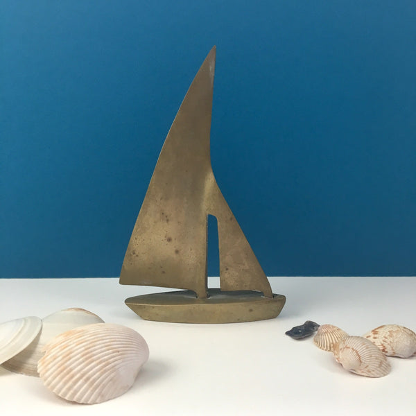 Brass sailboat - nautical home decor - vintage 1970s - NextStage Vintage