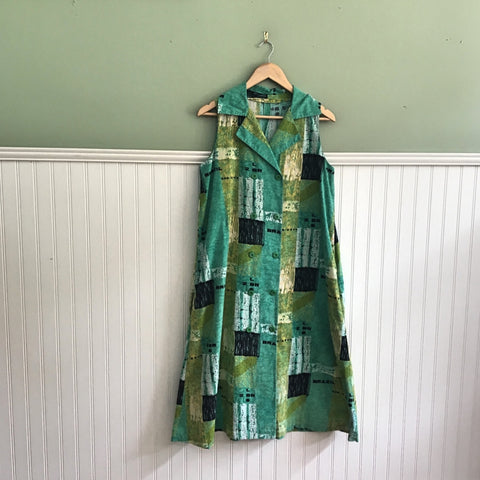 Modernist print sleeveless swing dress -  size large - 1980s vintage - NextStage Vintage