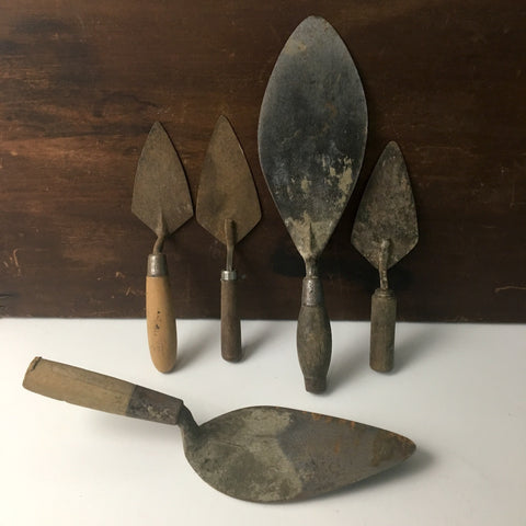 Rustic brick trowels - lot of 5 - for crafts and home decor - NextStage Vintage
