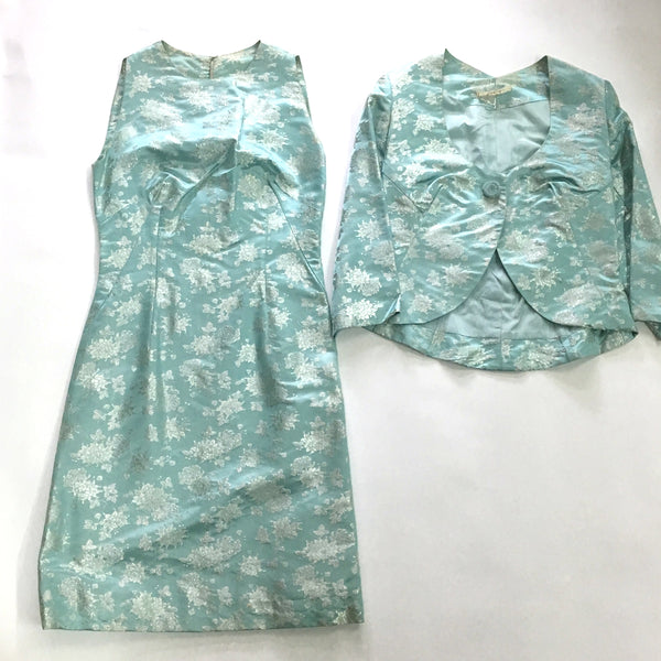 Aqua brocade jacket and dress - party dress - size XXS - XS - 1960s vintage - NextStage Vintage
