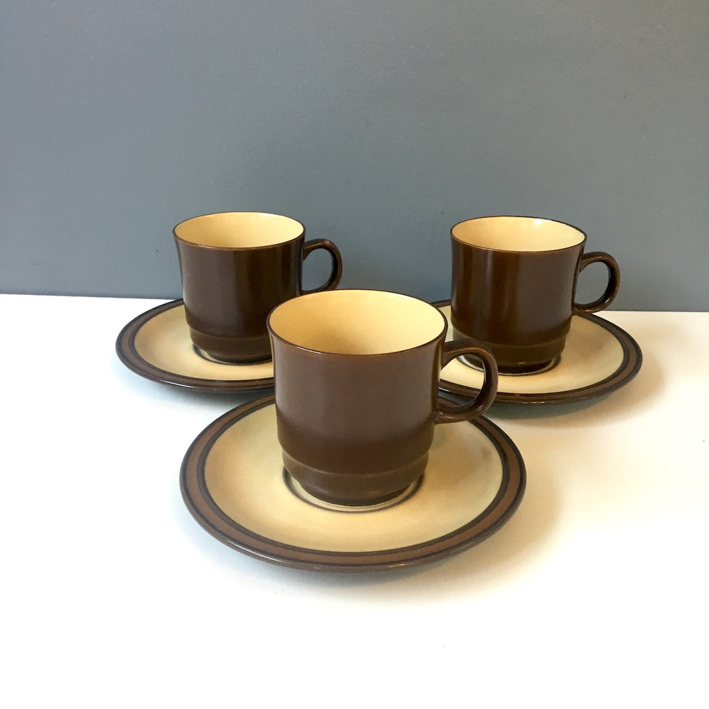 Brown stoneware cups and saucers - 1970s stoneware made in Japan - NextStage Vintage