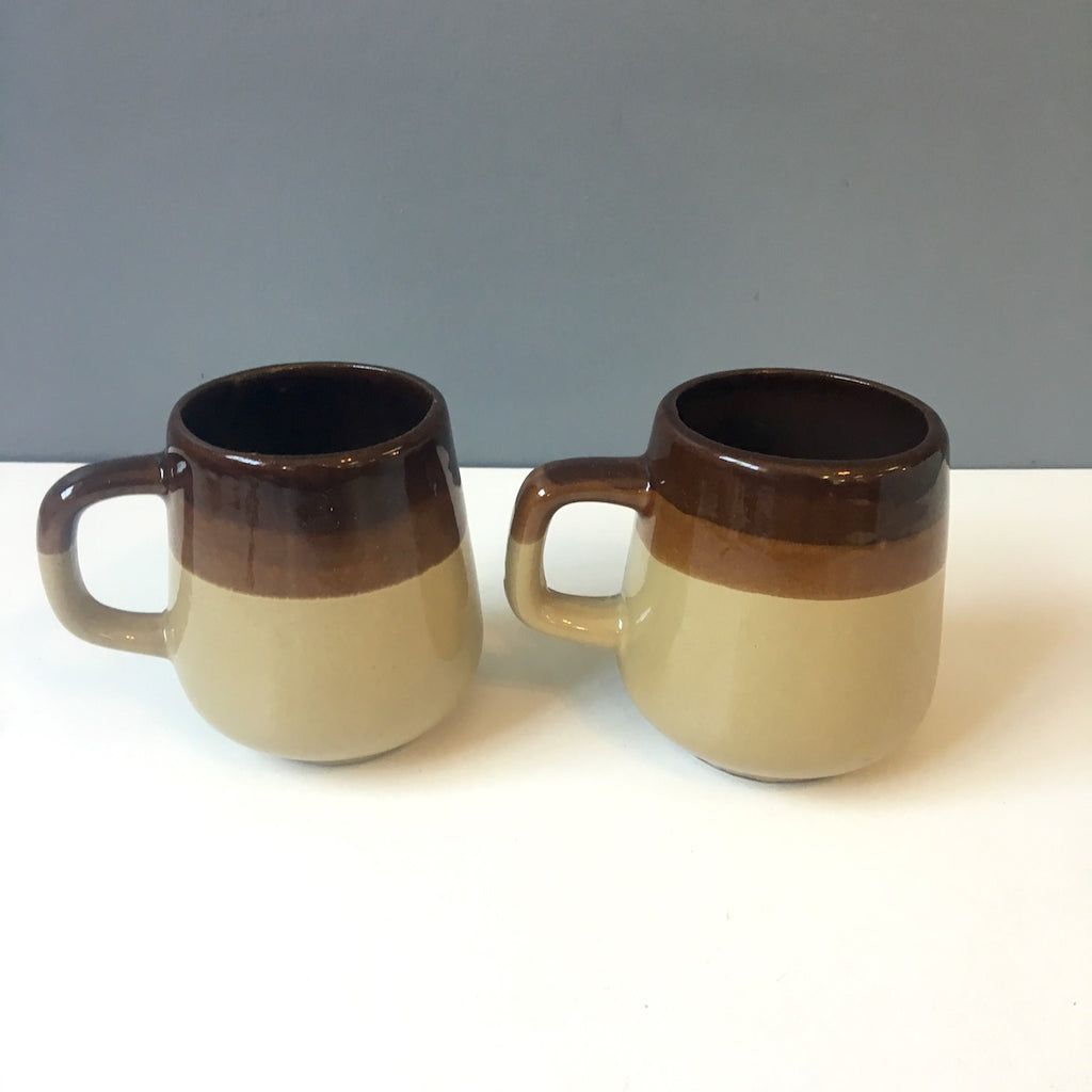 Brown red ware striped mugs - set of 2 - 1970s vintage - NextStage Vintage