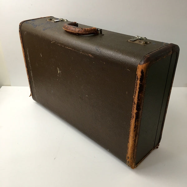 Leather trim suitcase - vintage storage - circa 1930s - NextStage Vintage