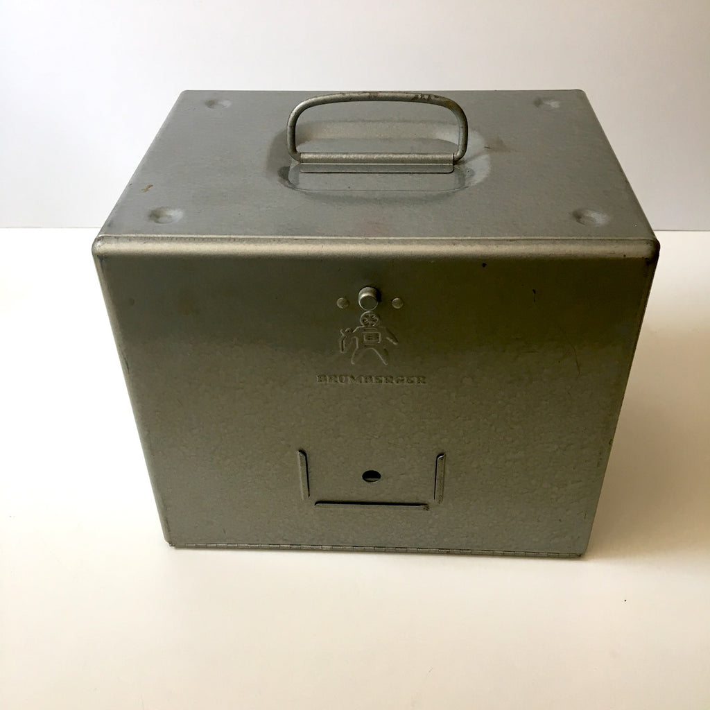 Brumberger film reel storage box with 2 Compco 16mm reels and cans - vintage 1950s - NextStage Vintage