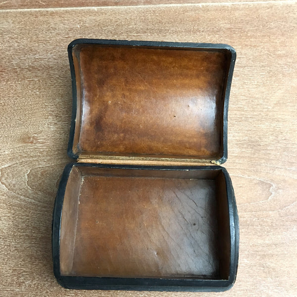 Early 20th century domed burgundy leather presentation box - NextStage Vintage