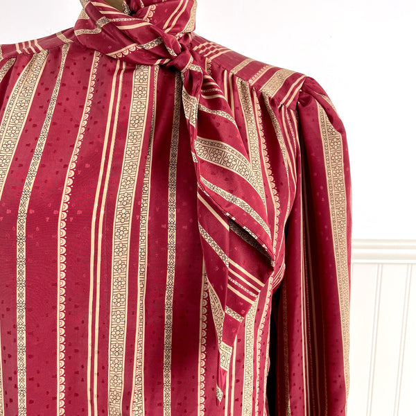 1980s vintage Gailord maroon striped blouse with neck tie detail - size large - NextStage Vintage