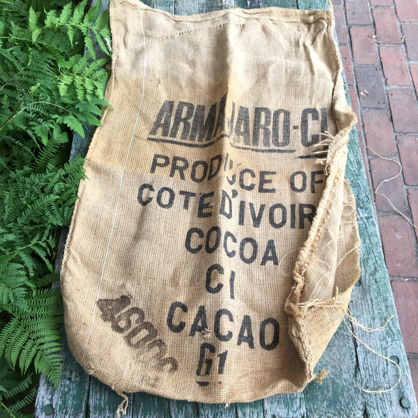 Advertising jute burlap bags - 2 Cote d'Ivoire cocoa bags and 1 Virginia peanuts bag - NextStage Vintage
