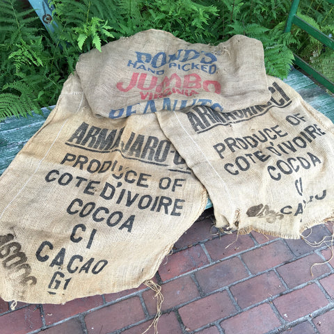 Advertising jute burlap bags - 2 Cote d'Ivoire cocoa bags and 1 Virginia peanuts bag