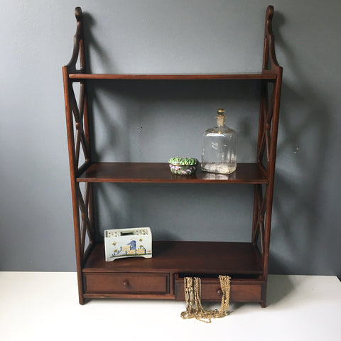 Butler Furniture wooden three shelf unit with drawers - vintage storage - NextStage Vintage