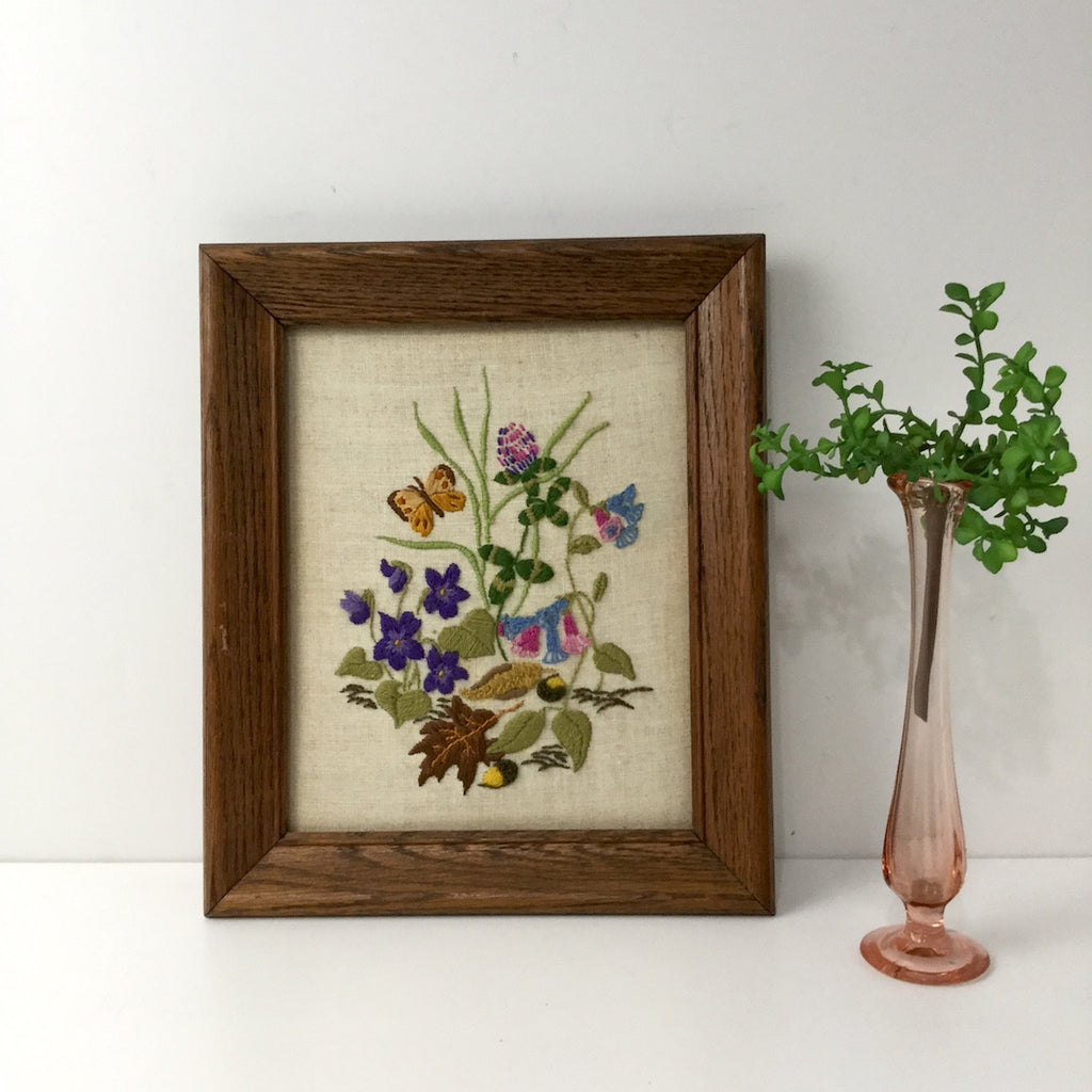 Crewel embroidery garden with butterfly - vintage framed stitchery - 1970s - NextStage Vintage