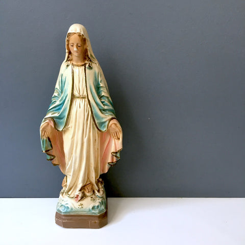 Blessed Virgin Mary - shabby vintage chalkware religious figurine