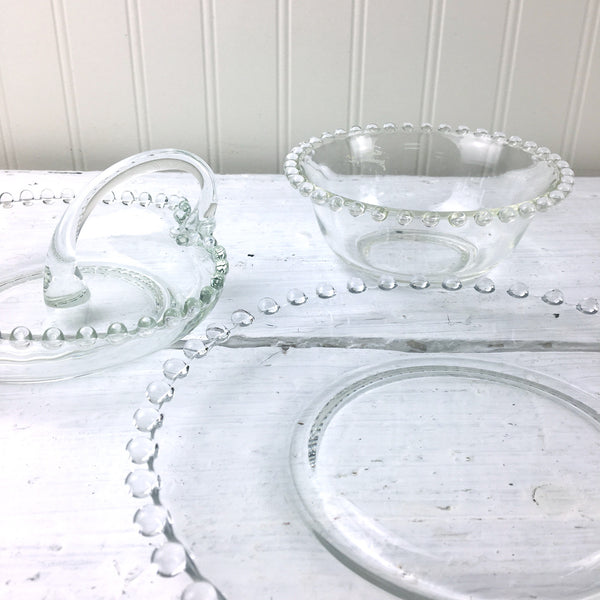 Imperial Candlewick beaded edge glass plates and serving pieces - 8 pieces - NextStage Vintage