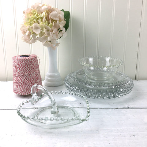 Imperial Candlewick beaded edge glass plates and serving pieces - 8 pieces
