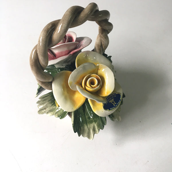 Capodimonte double rose basket from The Capodimonte Porcelain - made in Italy - NextStage Vintage