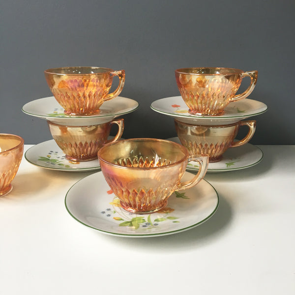 Mix and match cups and saucers set of 5 - carnival glass and floral pattern - vintage tableware - NextStage Vintage