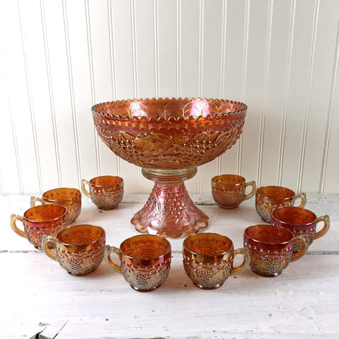 Imperial Glass Vintage pattern marigold carnival glass punch bowl and cups - vintage entertaining - NextStage Vintage