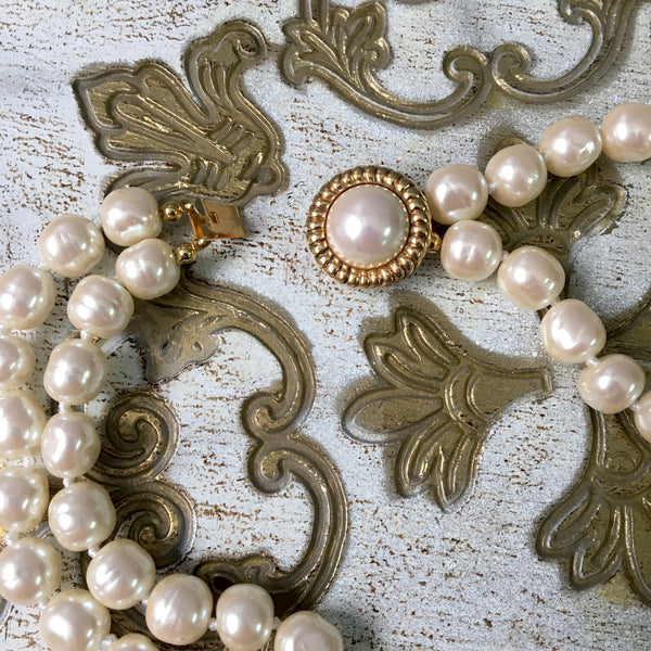 Carolee double strand pearl necklace - choker length - 1980s vintage - NextStage Vintage
