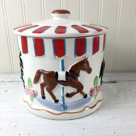 Carousel cookie jar - vintage 1950s cold painted pottery made in Japan