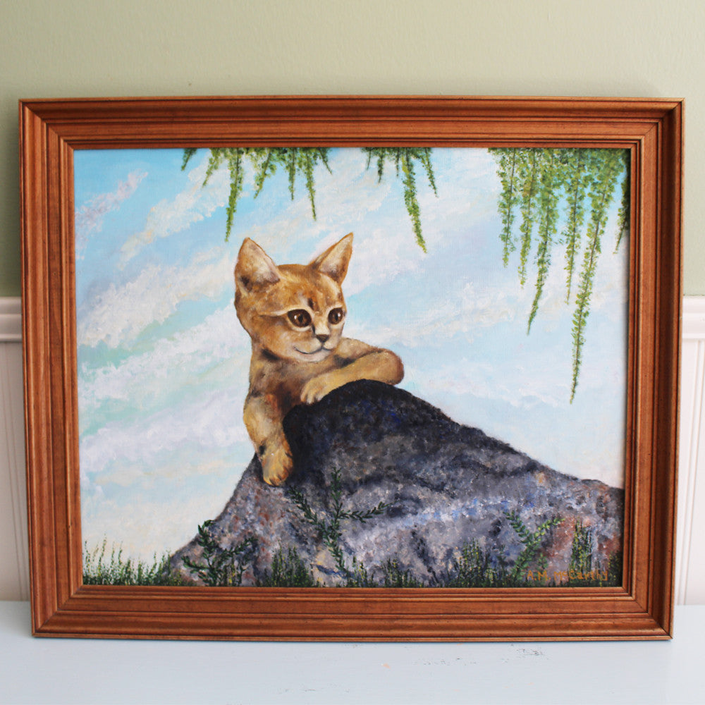 Ginger cat portrait painting - cat in the great outdoors - 1970s - NextStage Vintage
