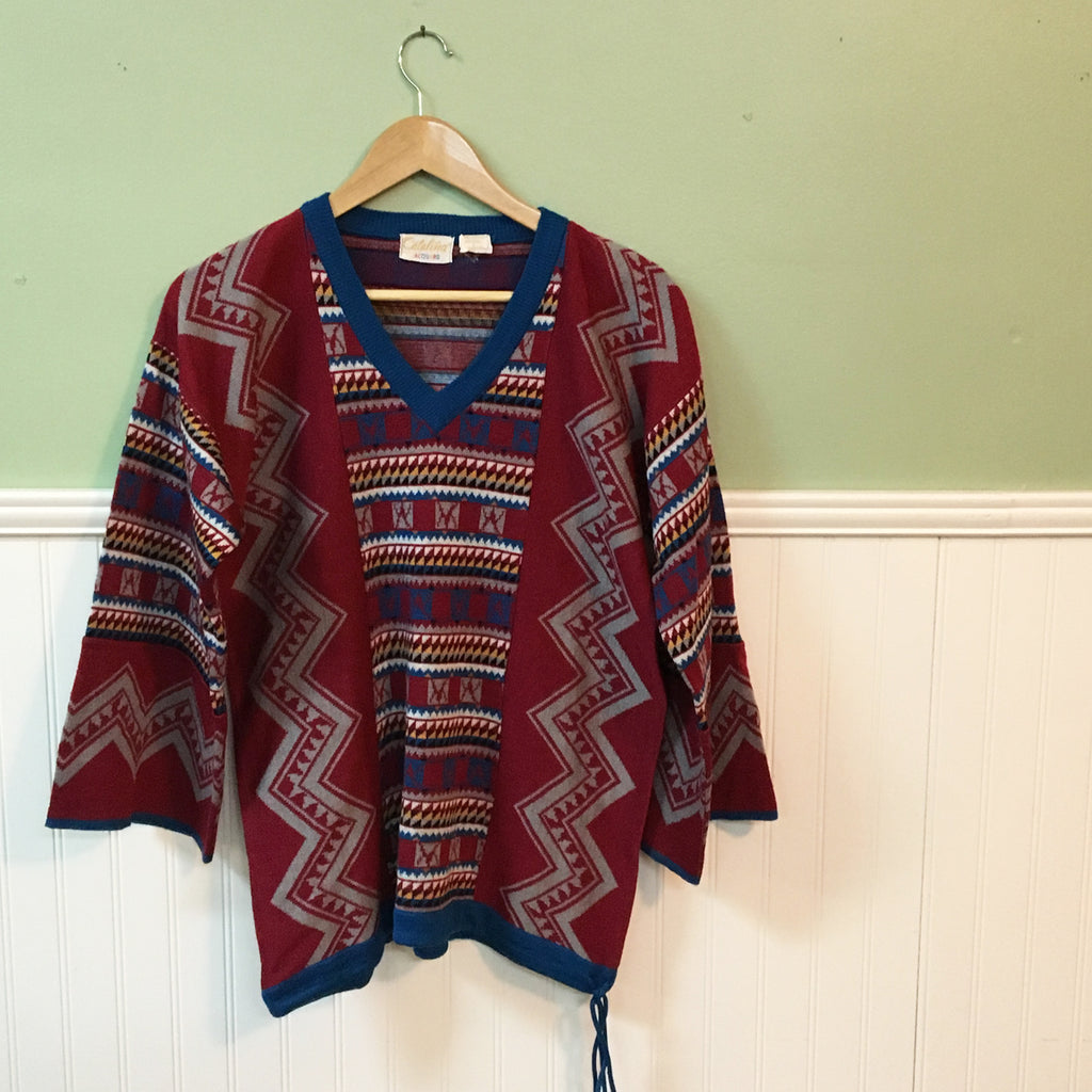Catalina southwestern knit tunic - 1970s vintage sweater - size medium - NextStage Vintage