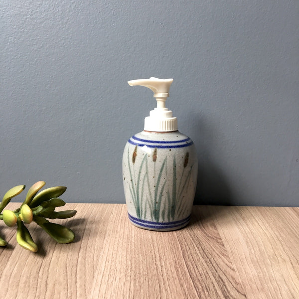 Cattail pottery soap or lotion dispenser - never used - 1980s vintage - NextStage Vintage