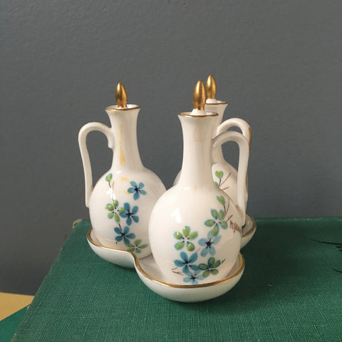 Caverswall England set of 3 miniature cruets - handpainted and signed by the artist - NextStage Vintage