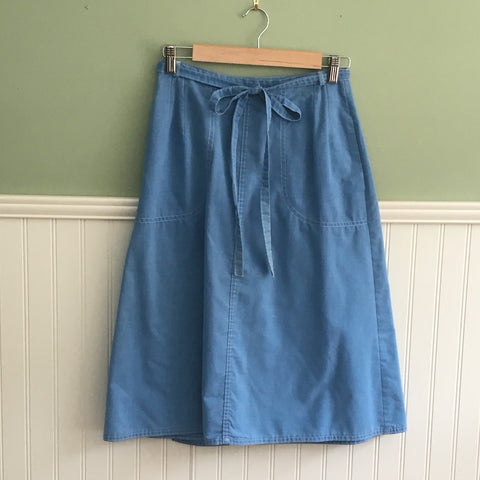 Century Boston chambray blue wrap skirt - size XS - 1970s vintage - NextStage Vintage