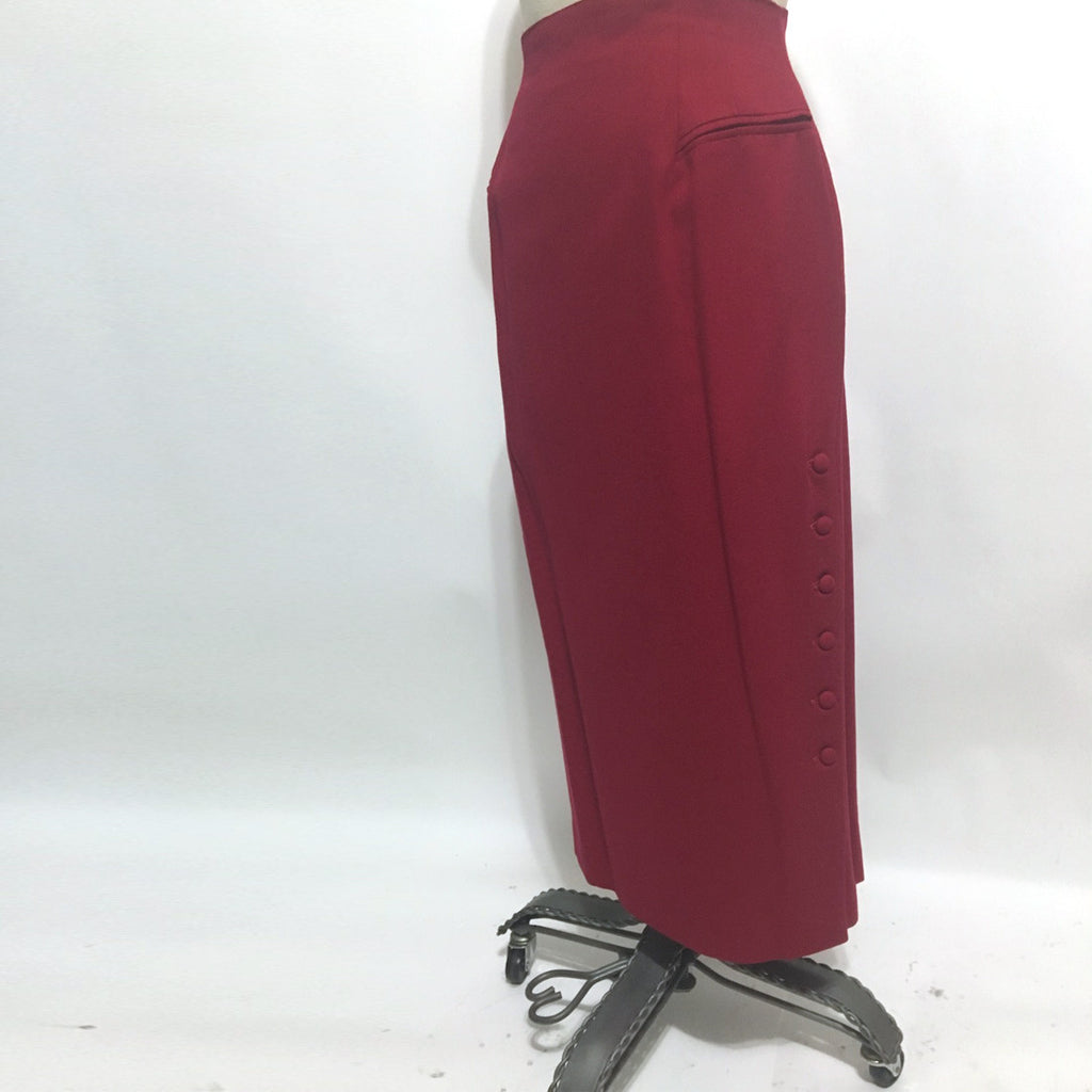 Cerise red high waisted trouser skirt - size small to medium - NextStage Vintage