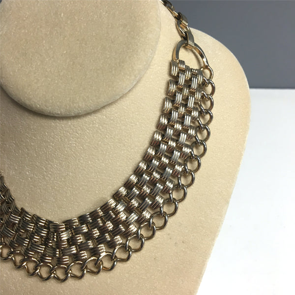 Goldtone metal chain collar necklace - 1960s vintage costume jewelry - NextStage Vintage