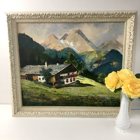 Alpine chalet painting - vintage 1960s European mountain landscape - Hollywood Recency frame - NextStage Vintage