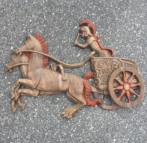 "Burwood Roman chariot statement wall art - #5264 - 38"" long - 1970s vintage - NextStage Vintage"