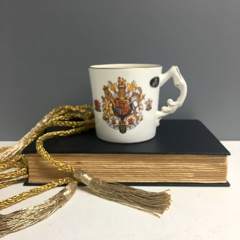 Aynsley Charles and Diana wedding mug - crest and family trees - 1980s vintage - NextStage Vintage