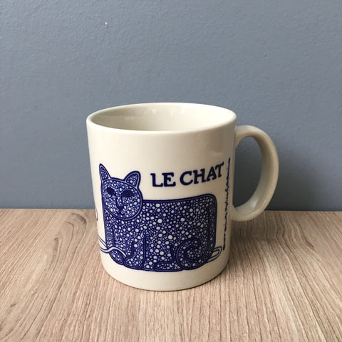 Taylor and Ng blue Le Chat mug - 1978 vintage