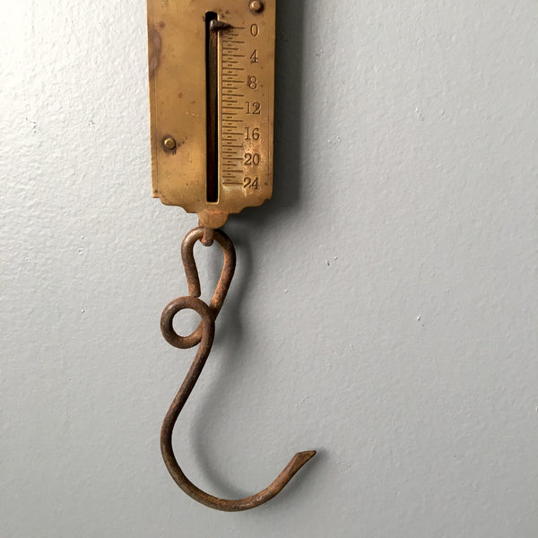 Chatillon's Improved Spring Balance - vintage brass hanging scale - NextStage Vintage