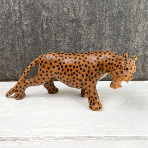 Carved wooden cheetah - vintage roaring cat - NextStage Vintage