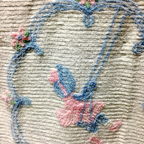Chenille youth bedspread - sunbonnet girl on a swing in pink and blue - vintage 1950s - NextStage Vintage
