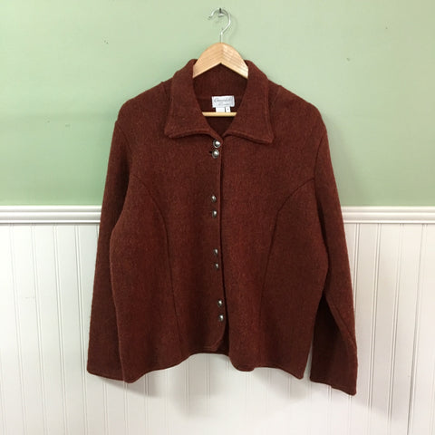 Cherry Lewis wool jacket - burnt orange heather knit- 100% wool - size medium