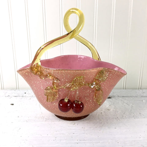 J.B. Graesser cased glass cherry basket - turn of century art glass - NextStage Vintage