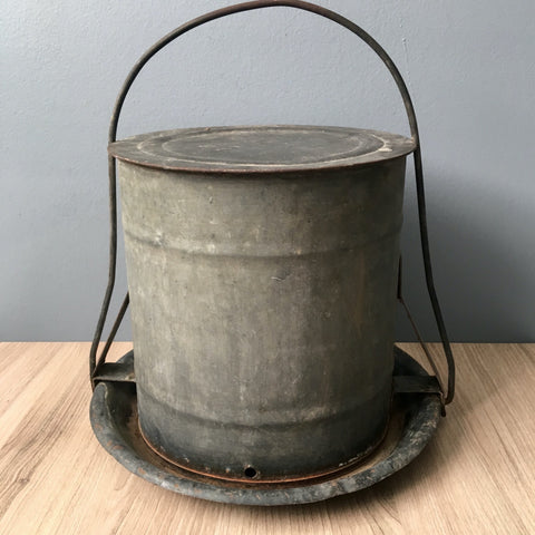 Galvanized steel chicken waterer - farmhouse vintage