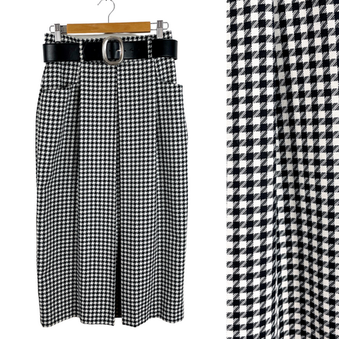 1980s houndstooth check high waisted trouser skirt - Christie Girl - size small to medium - NextStage Vintage