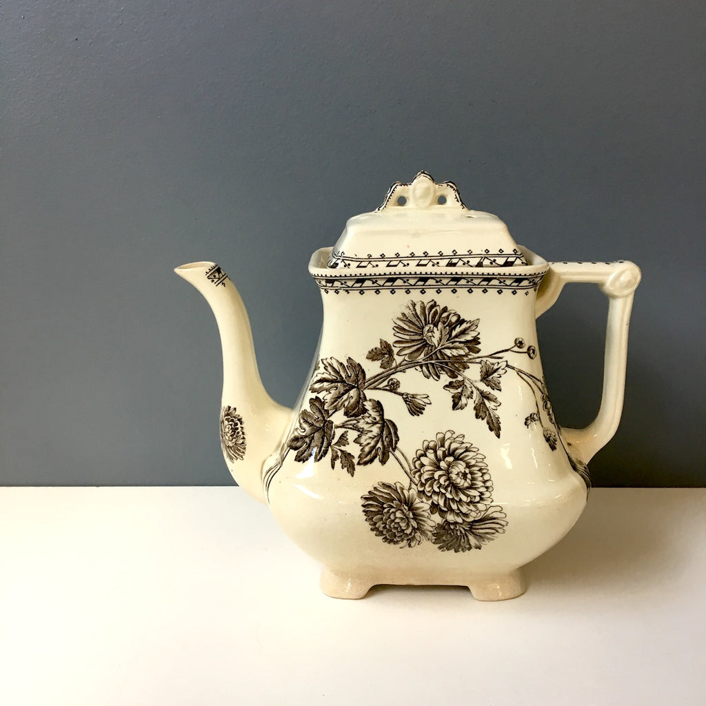 Chrysanthemum brown transferware teapot by Ralph Hammersley & Sons - 1883-1905 - NextStage Vintage