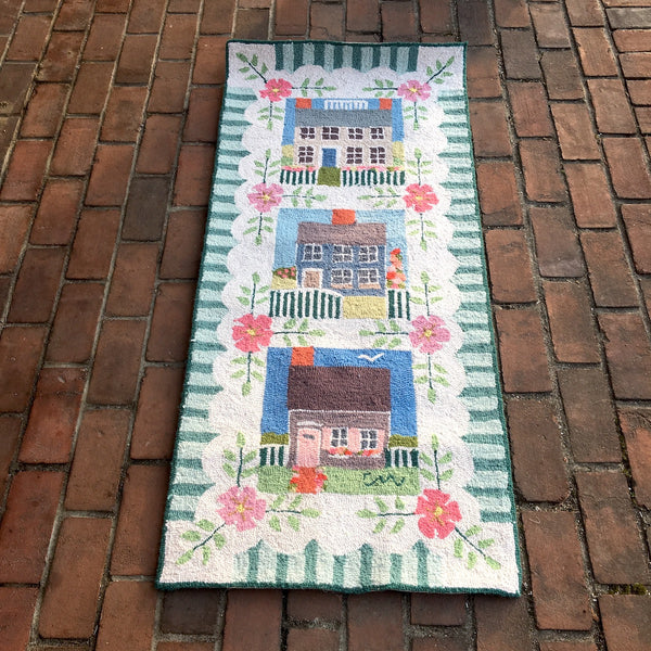 Claire Murray rug - saltbox houses - 24 x 53 - 1994 - NextStage Vintage