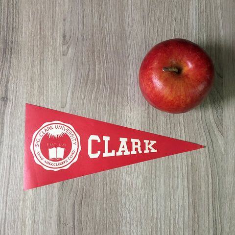 Clark University pennant baggage sticker - vintage college ephemera