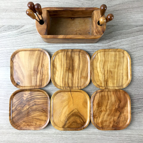 Wooden appetizer plates and forks set - 1950s vintage entertaining