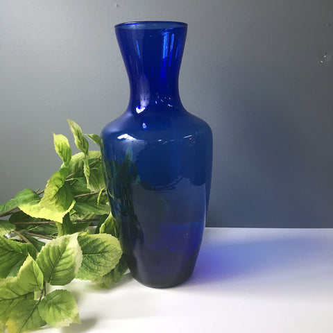 Cobalt blue floor vase - blown glass - vintage 1990s - NextStage Vintage