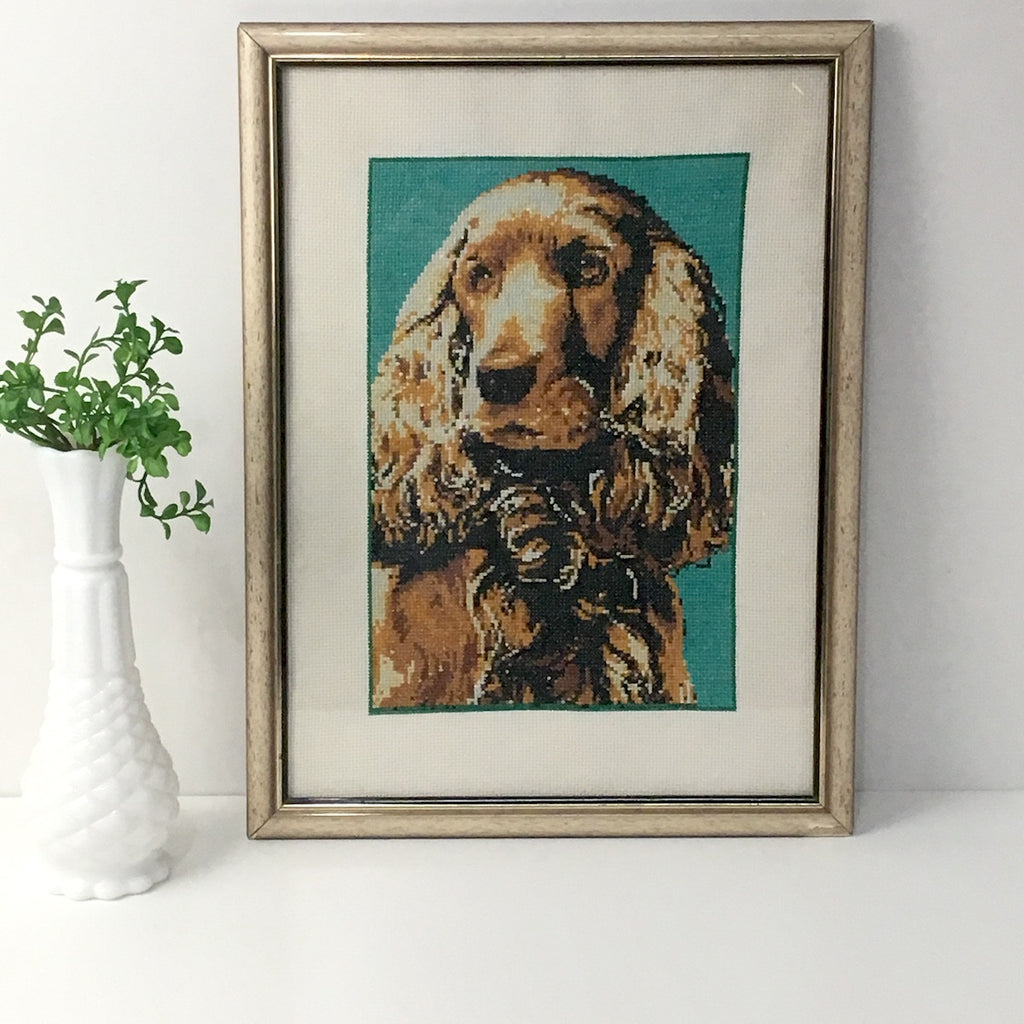 Cocker Spaniel and/or Curly Coated Dachshund counted cross stitch - vintage framed dog art - NextStage Vintage