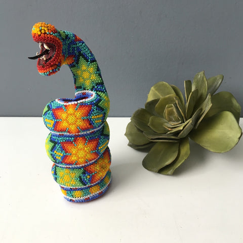 Huichol art coiled snake - native Mexican craft
