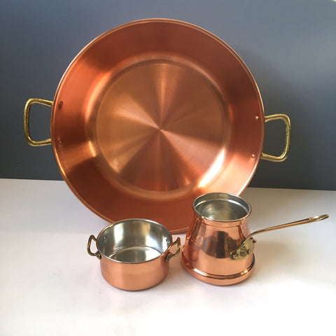 Copral copper basin and 2 pans - made in Portugal - new old kitchenware - NextStage Vintage